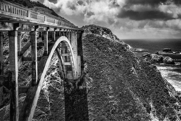 Historic Rocky Creek Bridge, Big Sur Coastline (b&w version)
